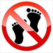 image of webbed feet white  - Prohibition signal feet on a white background - JPG
