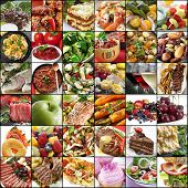 Постер, плакат: Big collage of food images Variety of meals meat fish fruits vegetables dairy salads desser