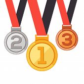 Trophy Medal Awards In Flat Design Style.