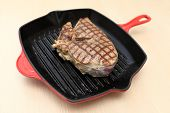 Beef Blade Steak On The Grill Pan