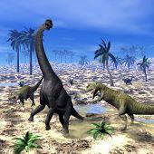 Allosaurus attacking brachiosaurus dinosaur - 3D render