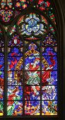 VIENNA, AUSTRIA - OCTOBER 10: St. Martin, Stained glass in Votiv Kirche (The Votive Church). It is a neo-Gothic church in Vienna, Austria on October 10, 2014