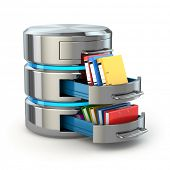 Database storage concept. Hard disk icon with folders  isolated on white. 3d