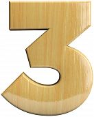 Wooden Number 3 - Three