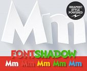 Modern funny flat alphabet with long ambient shadow. Optional colors. Letter M