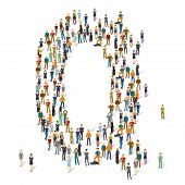 People crowd. Vector ABC, letter Q