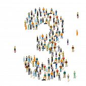 People crowd. Vector figures, 3