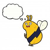 funny cartoon bee with thought bubble