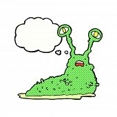 picture of gross  - cartoon gross slug with thought bubble - JPG
