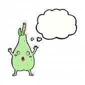 cartoon frightened pear with thought bubble