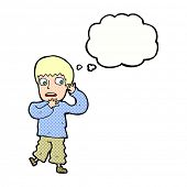 cartoon frightened boy with thought bubble