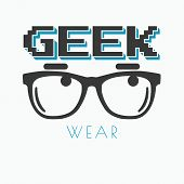 stock photo of geek  - Geek wearing glasses typography t - JPG