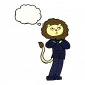 cartoon lion businessman with thought bubble