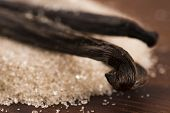 pic of vanilla  - vanilla sugar and vanilla beans on wooden table - JPG