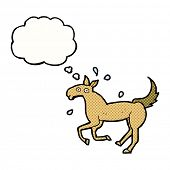 cartoon horse sweating with thought bubble
