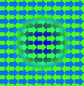 Green and blue arrows pointing opposite directions, with a gradient making the pattern look three dimensional in the middle