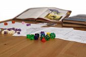 Role Playing Game Set Up On Table Isolated On White Background