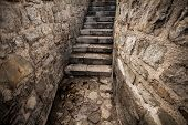 stock photo of stairway  - Beautiful view of ancient stone stairway at castle - JPG