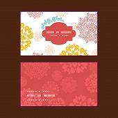 Vector abstract decorative circles stars horizontal frame pattern business cards set