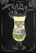stock photo of pina-colada  - Pina Colada cocktail in vintage style stylized drawing with chalk on blackboard - JPG
