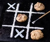 Chocolate Chip Cookies On Noughts And Crosses Sugar Grid