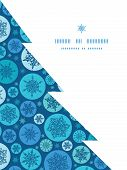 Vector round snowflakes Christmas snowflake silhouette pattern frame card template