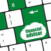 Keyboard Key With Financial Advisor Button, Business Concept
