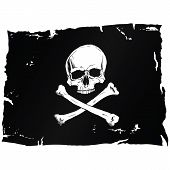 picture of skull crossbones flag  - Black pirate flag with skull and bones - JPG