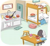 picture of messy  - Illustration of a Messy Studio Type Housing Unit - JPG