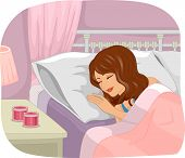 Illustration of a Girl Sleeping Soundly Next to Scented Candles Sitting on a Bedside Table