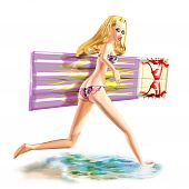 Girl with airbed and water