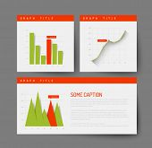 Simple infographic dashboard template with flat design graphs and charts - green and red version