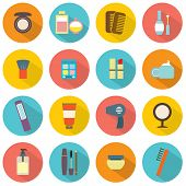 Flat Design Colorful Cosmetics Icons.
