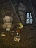 pic of attic  - Fantasy scena in the attic with piano and candelabra - JPG