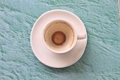 Empty cup of cappuccino coffee