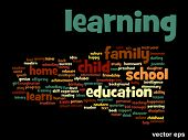 Vector concept or conceptual education abstract word cloud isolated on background