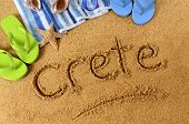 Crete Beach Writing