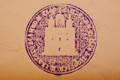 Russia- Circa 1800: Stamp Church Blue Made In Russia Shows Image Of The Cathedral Church Of White In