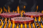 Hamburgers on a Hot Flaming Grill