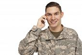 Soldier Talking On Phone