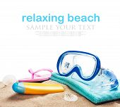 Beach Accessories For Relaxing On The Sand On A White