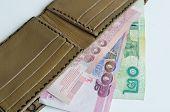 Pocket Money Of Thailand Isolated On White Backgrounds