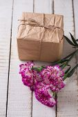 Carnations Flowers And Gift Box