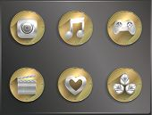 metal round icons flat, entertainment