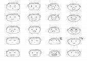 Linear Cute Boy Faces Emoji