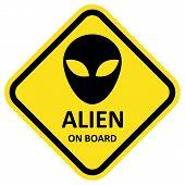 Vector sign alien on board.