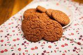 Oatmeal Cookies On Napkin On Table