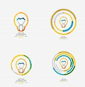 Light bulb minimal design logo, colorful abstract icon