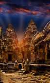 Mystical temples of Cambodia at night before sunrise
