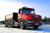 Red Conventional Cab Scania 164C Truck